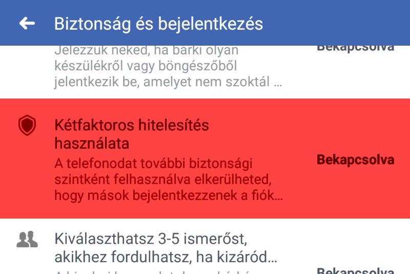 Facebook kétfaktoros hitelesítés